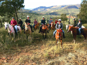 Fordsdale Horse Trail Riding, Group of 10 riders on a weekend adventure